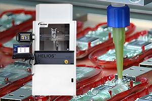 Medium- to large-volume fluid dispensing for electronics assembly, potting, sealing, gasketing and thermal interface materials.
