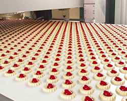 Jam tarts on a conveyor belt